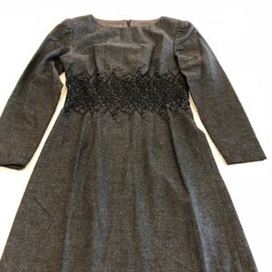 Kay Unger Gray Embroidered Dress- Sz 4